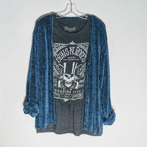 August Silk Knit Blue Chenille Ultra Soft Cardigan